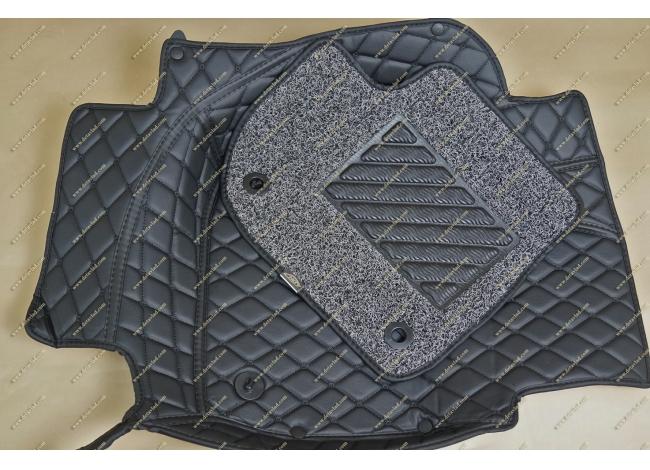 Коврики 3D в салон 2 слойные, эко-кожа на Honda Vezel, правый руль, черные