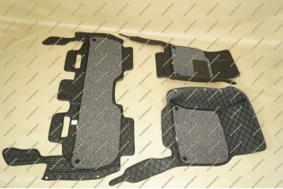 Коврики 3D в салон 2 слойные, эко-кожа на Lexus LX570 черные