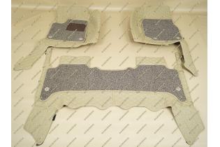 Коврики 3D в салон 2 слойные, эко-кожа на Lexus LX470 бежевые