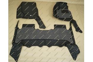 Коврики 3D в салон 2 слойные, эко-кожа на Toyota Land Cruiser 100 черные правый руль