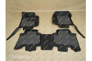 Коврики 3D в салон 2 слойные, эко-кожа на Toyota Land Cruiser Prado 120 черные левый руль