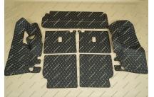 Коврики 3D в багажник, эко-кожа на Toyota Land Cruiser Prado 150 7 мест черные