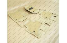 Коврики 3D в салон 2 слойные, эко-кожа на Toyota Land Cruiser Prado 150 правый руль бежевые