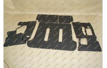 Коврики 3D в багажник, эко-кожа на Toyota Land Cruiser Prado 120 7 мест черные
