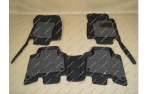 Коврики 3D в салон 2 слойные, эко-кожа на Toyota Land Cruiser Prado 120 черные правый руль