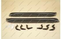 Подножки на Toyota Land Cruiser Prado 120, комплект, темно-серые