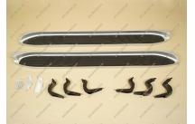 Подножки на Toyota Land Cruiser Prado 120, комплект, серебристые