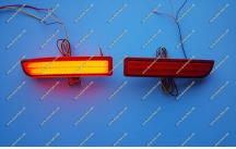 Неоновые катафоты в бампер для Toyota красные (широкие)